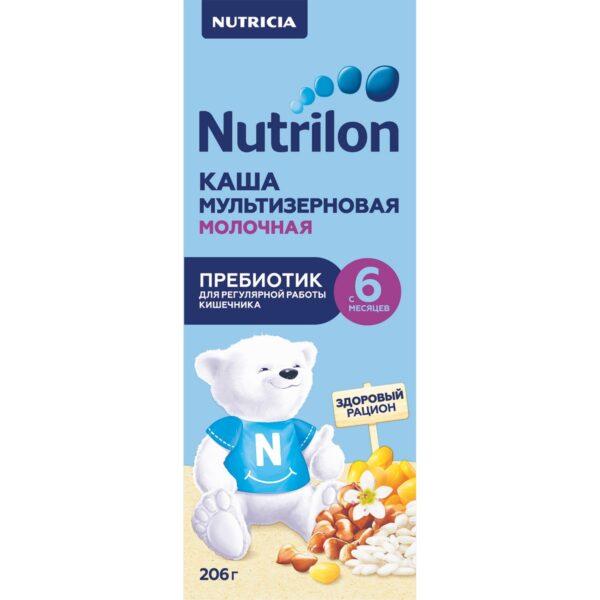 Нутрилон Каша жидкая молочная мультизерновая с пребиотиком с 6 месяцев, 206г