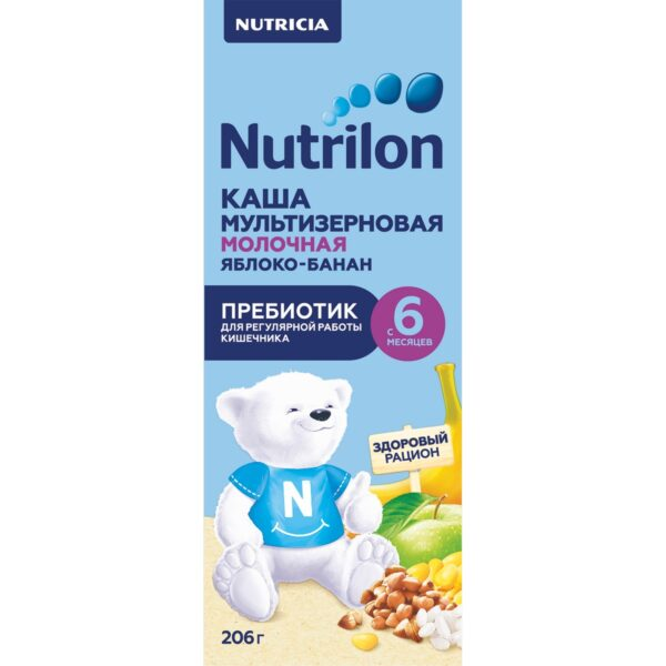 Нутрилон Каша жидкая молочная мультизерновая с пребиотиком яблоко-банан с 6 месяцев, 206г
