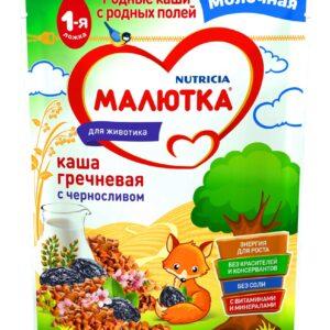 Малютка Каша молочная Гречневая с черносливом, 220г