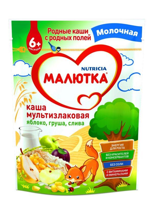 Малютка Каша молочная Мультизлаковая с фруктами, 220г
