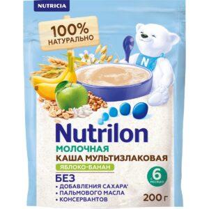 Нутрилон Каша молочная Мультизлаковая с яблоком и бананом, 200г