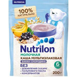 Нутрилон Каша молочная Мультизлаковая с бананом и черной смородиной, 200г